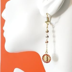 Our Lady of Guadalupe Earrings Gold Plated 3 tones